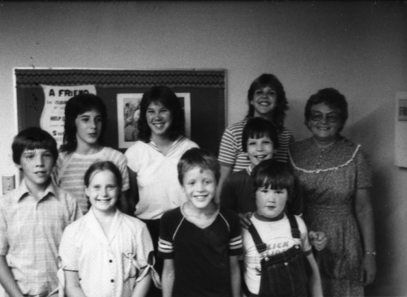 Norma Wolter with her students at B. J. Rowland Adventist School in 1984
