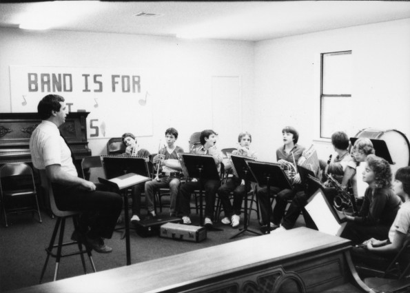 Ray Davis, OAA Music teacher, teaching an elementary band class