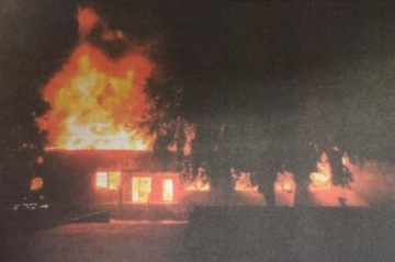 The cafeteria on fire the night of October 18, 2001.