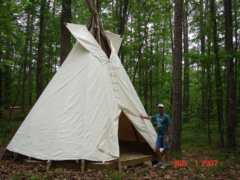 One of the teepees at  Indian camp.
