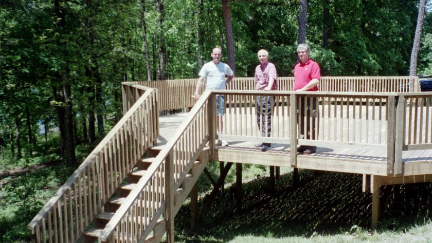 L to R: Stephen Burton, Elder Stephen Orian, and Elder Dennis Shafter on the part of the deck completed in 2004